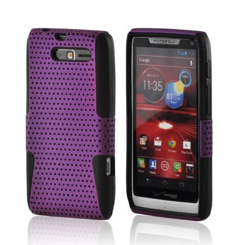 Purple Mesh on Black Rubberized Hard Case on Silicone for Motorola Droid RAZR M