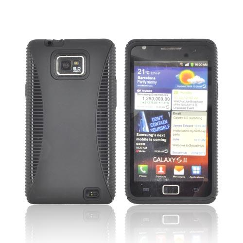 AT&T Samsung Galaxy S2 Rubberized Hard Back Over Crystal Silicone Case - Black