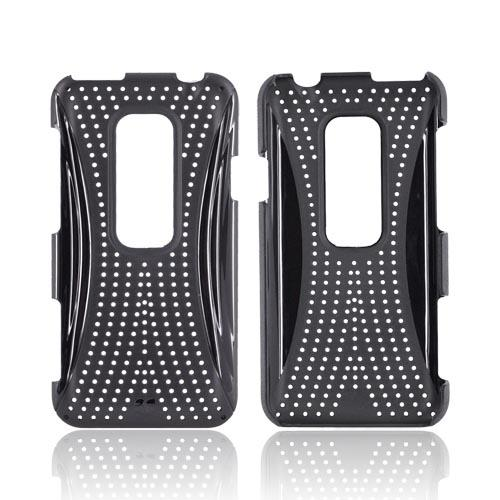 HTC EVO 3D Hard Case w/ Perforated Textured Back - Black