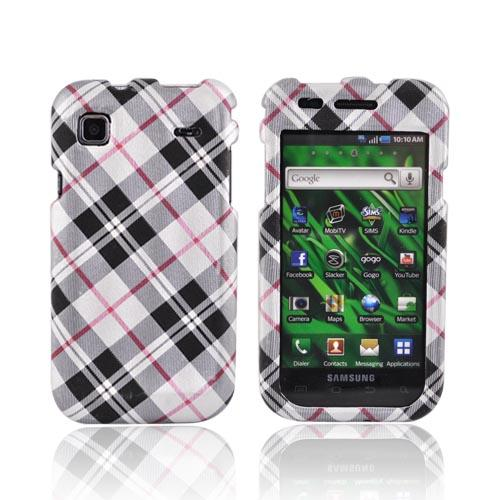Samsung Vibrant T959 Textured Hard Case - Checkered Pattern of Black/Red/Beige