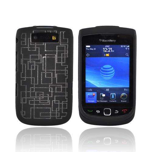 Blackberry Torch 9800 Illusion Rubberized Hard Case - Clear Geometry Lines on Black