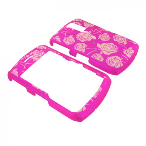 Blackberry Curve 8330, 8320, 8310, 8300 Glow in the Dark Illusion Hard Case - Clear Roses on Hot Pink