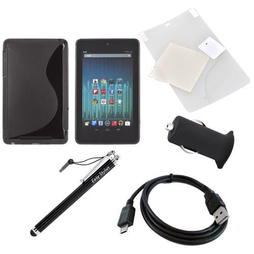 Google Nexus 7 Basic Bundle Package w/Black Crystal Silicone S Case, Screen Protector, Micro USB Data Cable, USB Rubberized Car Charger Adapter (3000 mAh), & Black Stylus