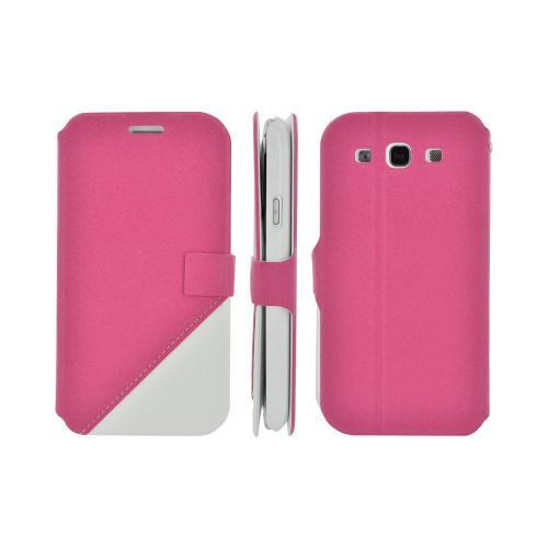 Geeks Protection Line (GPL) Swanky Samsung Galaxy S3 Diary Flip Cover Hard Case Stand w/ ID Slots - Hot Pink/ White