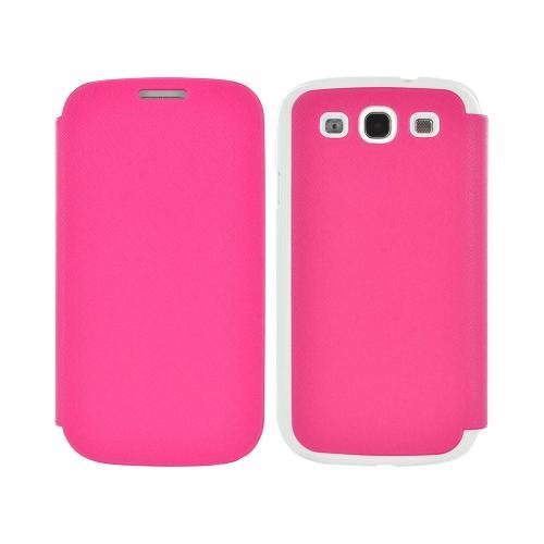 Geeks Protection Line (GPL) Snazzy Samsung Galaxy S3 Leather Diary Flip Cover Hard Case w/ Card Slot - Hot Pink/ White