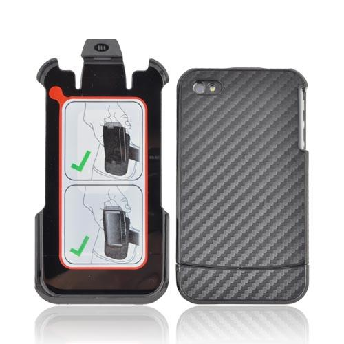 Original AGF AT&T/ Verizon Apple iPhone 4, iPhone 4S Vandelay Hard Case w/ Holster & Kickstand, HA0414-9025 - Black Carbon Fiber