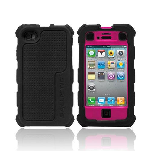 Original Ballistic AT&T/ Verizon Apple iPhone 4, iPhone 4S HC Hard Case Combo w/ Holster & Built-In Screen Protector, HA0778-365 - Black/ Hot Pink