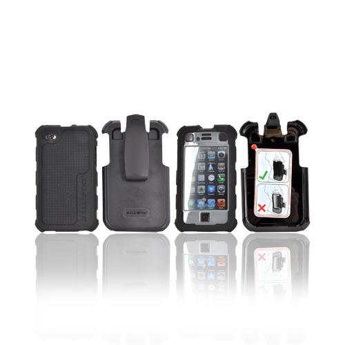 Original Ballistic Apple iPhone 4, iPhone 4S HC Hard Case Combo w/ Holster & Built-In Screen Protector, HA0778-M315 - Black/ Gray
