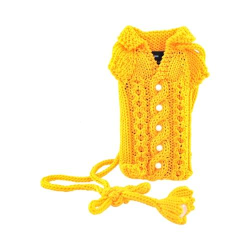 Universal Knitted Sweater Neck Case Holder w/ Lanyard (PUT) - Orange w/ Pearls