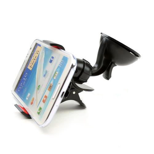 Black/ Red Universal Phone/ MP3 Suction Car Mount