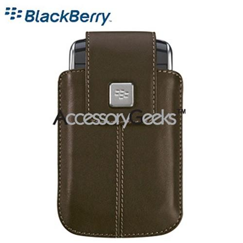 Original Blackberry Storm 9530 Leather Holster w/ Swivel Belt Clip - Dark Brown