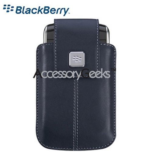 Original Blackberry Storm 9530 Leather Holster w/ Swivel Belt Clip - Dark Blue