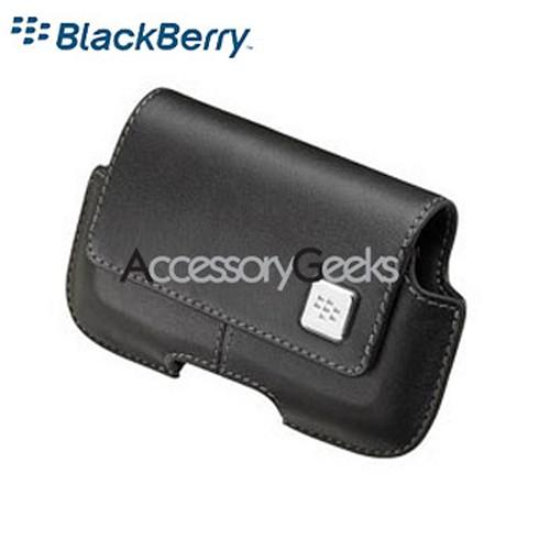 Original Blackberry Storm Leather Horizontal Pouch w/ Belt Clip - Black