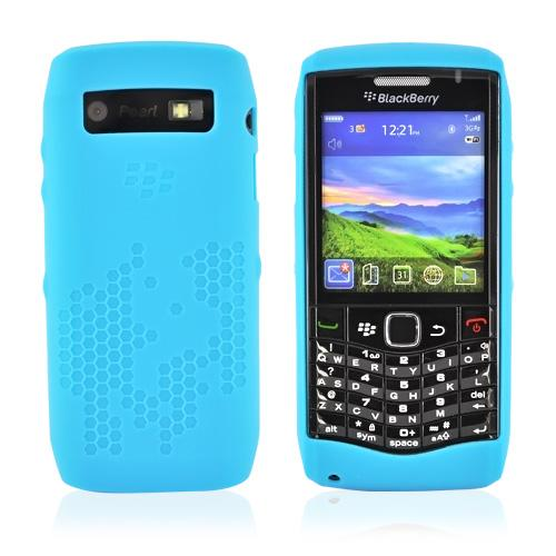 Original BlackBerry Pearl 9100 Patterned, Rubber Silicone Case, HDW-29562-001 - Baby Blue