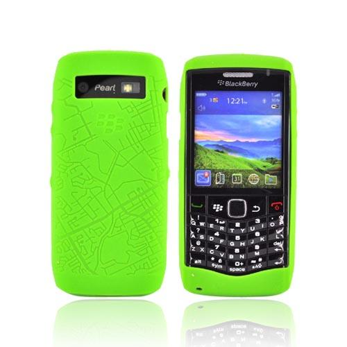 Original Blackberry Pearl 3G 9100 Silicone Case, Rubber Skin,HDW-29841-001 - Green Map Texture