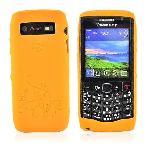 Original BlackBerry Pearl 9100 Patterned, Rubber Silicone Case, HDW-29842-001 - Orange
