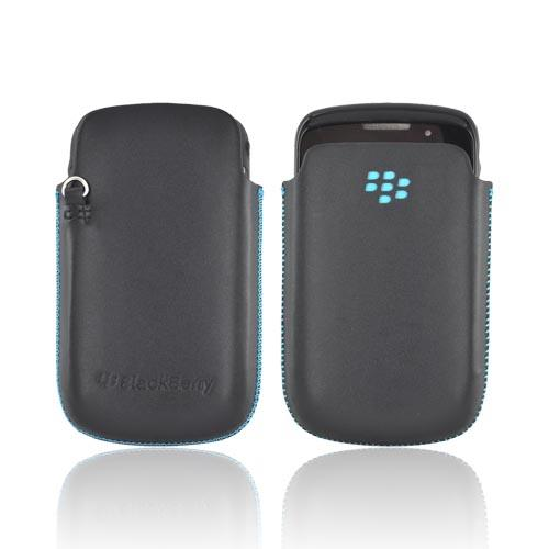 Original Blackberry Curve 8520, 8530, 8500, Curve 3G 9300, 9330 Leather Pocket Pouch Case, HDW-32835-001 - Black/ Turquoise