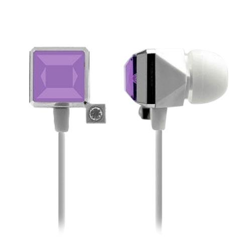 Cellet Universal Diamond Ear Drop Jewel Handsfree Headset (3.5mm) - White/Purple