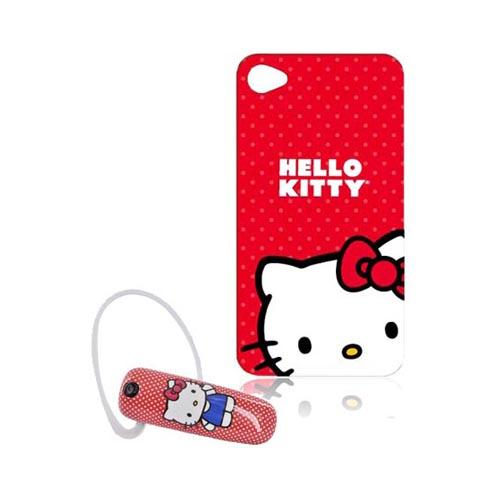 AT&T / Verizon iPhone 4, iPhone 4S Hello Kitty Essential Bundle Package w/ Hello Kitty on Red AT&T / Verizon iPhone 4, iPhone 4S Case & Earloomz Hello Kitty on Red/White Polka Dots Bluetooth