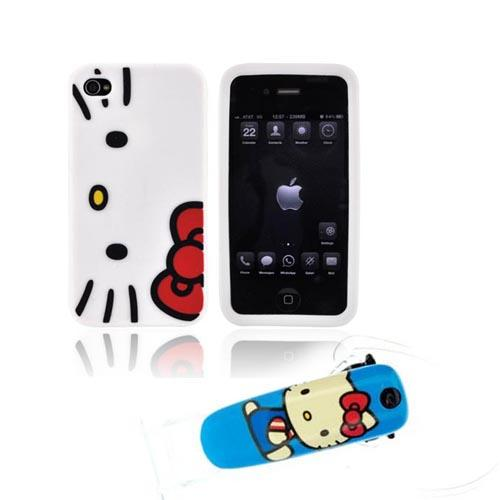 AT&T / Verizon iPhone 4, iPhone 4S Hello Kitty Essential Bundle Package w/ Hello Kitty Face w/ Red Bow Case & Earloomz Hello Kitty Portrait on Blue Bluetooth