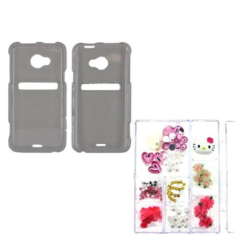 HTC EVO 4G LTE Hello Kitty DIY Bundle w/ Officially Licensed Hello Kitty Decoration Art Kit & Clear Hard Case