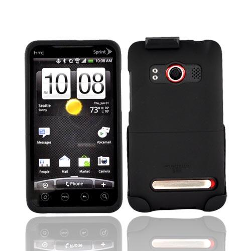 Original Seidio HTC EVO 4G Innocase Combo Rubberized Hard Case w/Black Holster, HLCSR3HEV4-Bk - Black