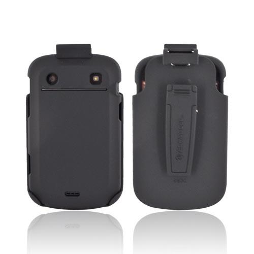Premium Blackberry Bold 9900, 9930 Rubberized Hard Case & Holster w/ Rotating Belt Clip - Black
