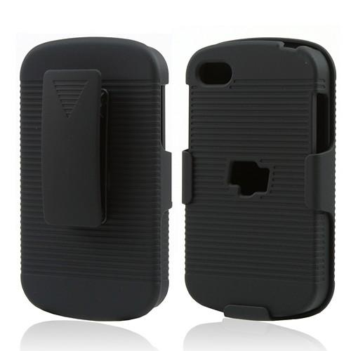 Black Rubberized Hard Case & Holster Combo w/ Kickstand & Swivel Belt Clip for Blackberry Q10