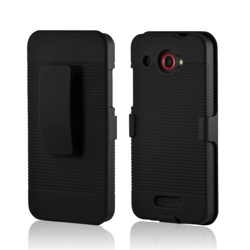 Black Rubberized Hard Case Holster Combo w/ Swivel Belt Clip & Stand for HTC Droid DNA