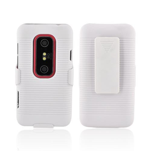 Premium HTC EVO 3D Rubberized Case & Holster Stand Combo - White