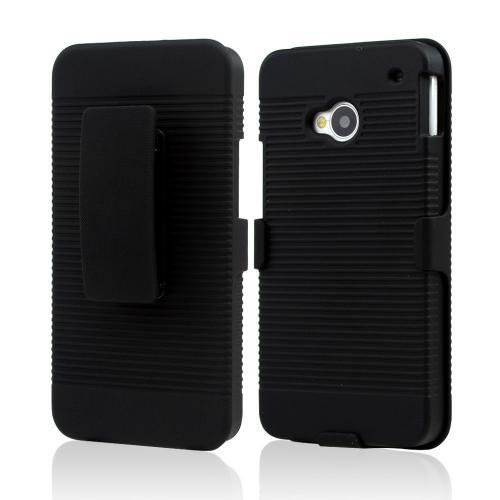 Black Rubberized Hard Case & Holster Combo w/ Kickstand & Swivel Belt Clip for HTC One
