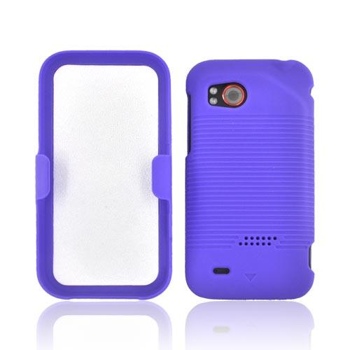 HTC Rezound Rubberized Hard Case w/ Holster Stand - Purple