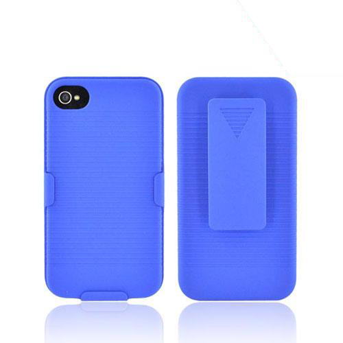 Premium AT&T/Verizon Apple iPhone 4 Rubberized Holster and Case Combo - Blue