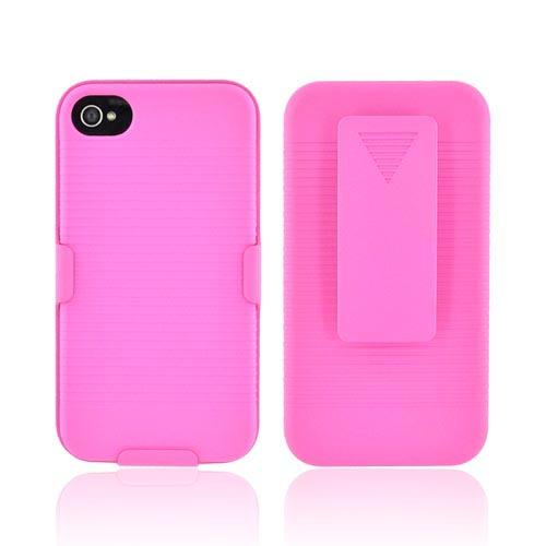 Premium AT&T/Verizon Apple iPhone 4 Rubberized Holster and Case Combo - Hot Pink