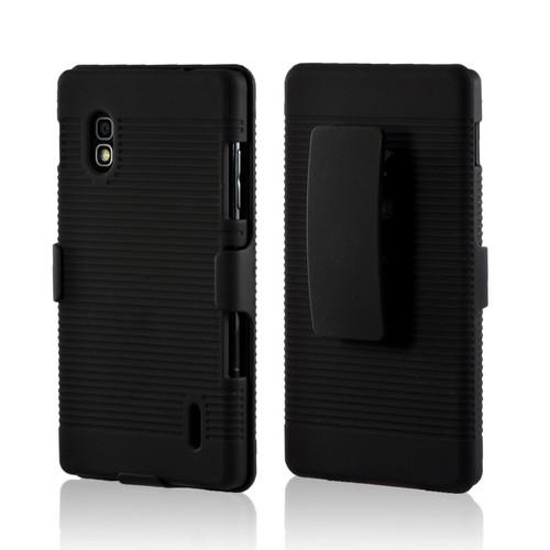 Black Rubberized Hard Case Holster Combo w/ Kickstand & Belt Clip for LG Optimus G (AT&T)
