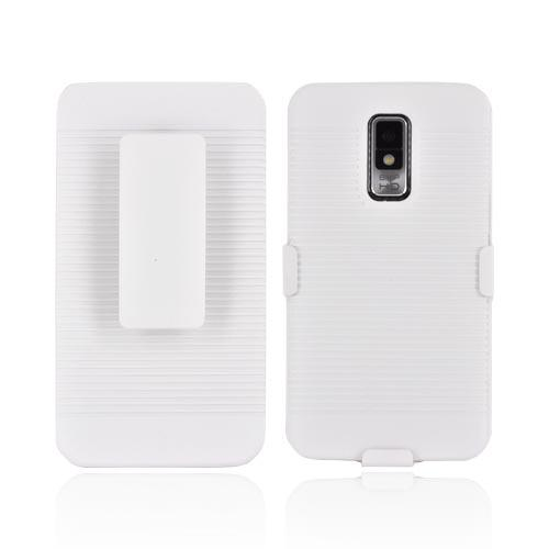 LG Spectrum Rubberized Hard Case w/ Holster Stand - White