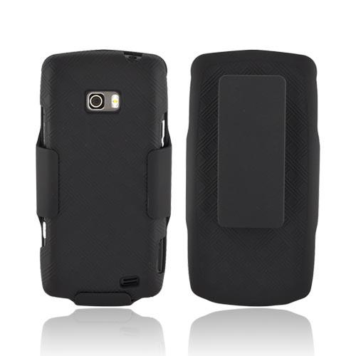 Premium LG Ally VS740 Rubberized Textured Hard Case & Holster w/ Rotating Belt Clip - Black