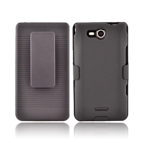 LG Lucid 4G Rubberized Hard Case & Holster Combo - Black