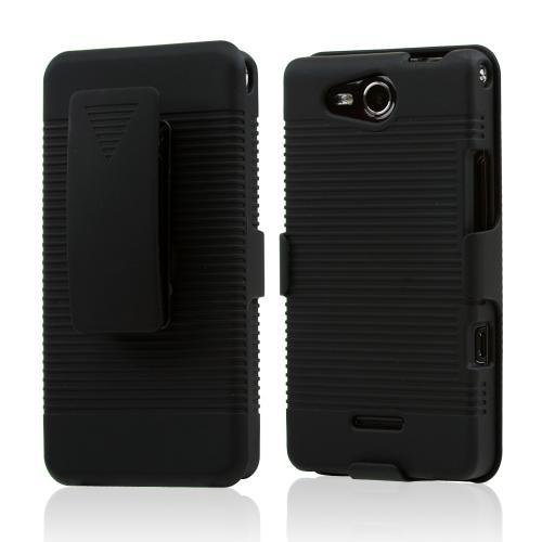 LG Lucid VS840 Rubberized Textured Hard Case w/ Stand & Holster Combo - Black