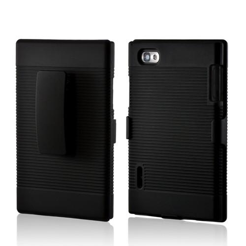 Black Hard Case & Holster Combo w/ Kickstand & Swivel Belt Clip for LG Intuition VS950