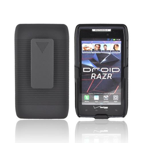 Motorola Droid RAZR Rubberized Hard Case w/ Holster Stand - Black