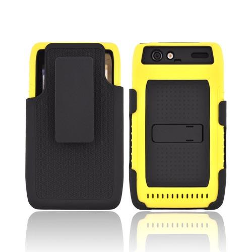 Motorola Droid RAZR Silicone Over Hard Case w/ Screen Protector, Kickstand, & Holster - Black/ Yellow