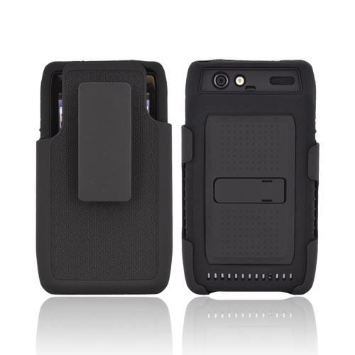 Motorola Droid RAZR Silicone Over Hard Case w/ Screen Protector, Kickstand, & Holster - Black