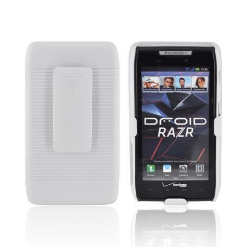 Motorola Droid RAZR/ RAZR MAXX Rubberized Hard Case w/ Holster Stand - Solid White