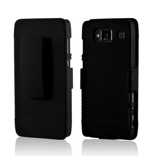 Black Rubberized Hard Case Holster Combo w/ Kickstand & Belt Clip for Motorola Droid RAZR MAXX HD