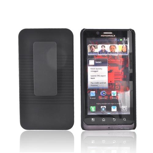 Motorola Droid Bionic XT875 Rubberized Textured Hard Case & Holster - Black