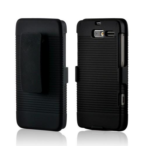 Black Hard Case & Holster Combo w/ Kickstand & Swivel Belt Clip for Motorola Droid RAZR M