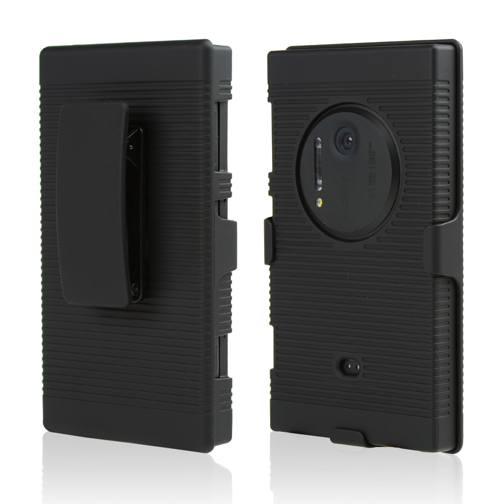 Black Rubberized Hard Case & Holster Combo w/ Kickstand & Swivel Belt Clip for Nokia Lumia 1020