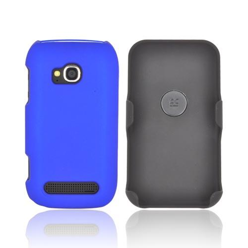 Premium Nokia Lumia 710 Rubberized Holster and Case Combo w/ Screen Protector, Swivel Belt Clip, & Stand - Black/ Blue