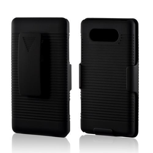 Black Rubberized Hard Case Holster Combo w/ Kickstand & Belt Clip for Nokia Lumia 820